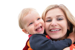 Child embraces mother Stock Photo