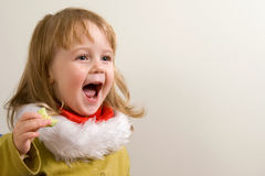 Child emotions. Emotional cry of young pretty girl Stock Photography