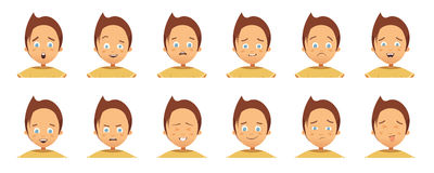 Child Emotions Avatars Collection Cartoon Style Royalty Free Stock Image