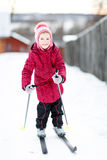 Child engaged in skiing to  winter Stock Photo