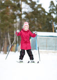 Child engaged in skiing to  winter Royalty Free Stock Photo