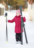 Child engaged in skiing to the winter Stock Photo