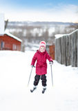 Child engaged in skiing to  winter Royalty Free Stock Images