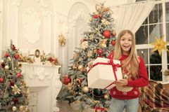Child enjoy the holiday. Christmas tree and presents. Happy new year. Winter. xmas online shopping. Family holiday. The royalty free stock photography