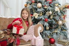 Child enjoy the holiday. Happy new year. Winter. xmas online shopping. Family holiday. Christmas tree and presents. Capturing a happy moment. The morning royalty free stock photography