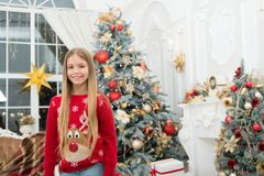 Child enjoy the holiday. Happy new year. Winter. xmas online shopping. Family holiday. Christmas tree and presents. The. Morning before Xmas. Little girl royalty free stock photos