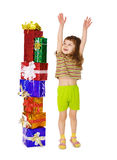 A child enjoys a lot of gifts for his birthday Royalty Free Stock Photos