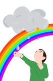 A child enjoys the rain Stock Image