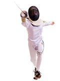 Child epee fencing lunge. Royalty Free Stock Photography