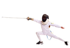 Child epee fencing lunge. Stock Image