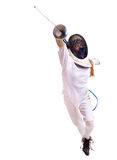Child epee fencing lunge. Royalty Free Stock Image