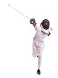 Child epee fencing lunge. Royalty Free Stock Photos