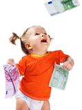 Child with euro money. Stock Photography