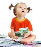 Child with euro money. Royalty Free Stock Image