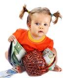 Child with euro money. Stock Photo