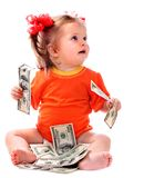 Child with euro money. Stock Photos