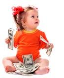 Child with euro money. Stock Photos