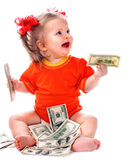 Child with euro money. Royalty Free Stock Photography