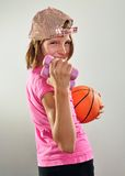 Child exercising with dumbbells and ball Royalty Free Stock Photography
