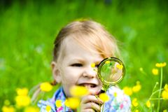 The child explores the grass in the meadow through a magnifying glass. Little girl exploring the flower through the magnifying