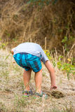 Child exploring nature bordering forest. Young boy exploring nature bordering forest Stock Image