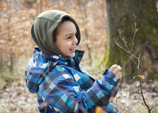 Child exploring spring nature in forest. Smiling child boy exploring growing twig of a beech tree in winter or early spring forest Stock Photos