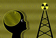 Child exposed to Radiation. Electromagnetic waves of cellular phone towers affect the brain of kids and teens Stock Photo