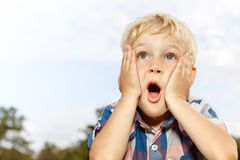 Child expressing surprise Stock Photo