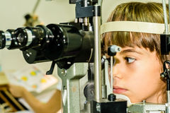 Child eye exam Stock Photo
