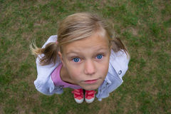 Child face from above perspective shot Stock Photography
