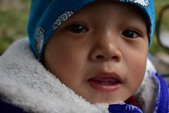 Child, Face, Blue, Person stock photo