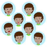 Child face emotion gestures  illustration, set collection Stock Photo