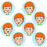 Child face emotion gestures  illustration set collection Royalty Free Stock Photo