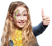 Child with face painting. Girl with face painting. Child with body art stock photos