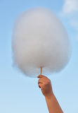 A child at the fair keeps bought cotton candy in hand. Stock Photo
