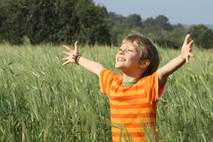 Child faith joy happiness. Christian child worshiping, faith, prayer, happiness and  joy Stock Image