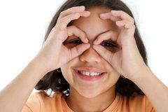 Child With Fake Glasses. On white background royalty free stock photography