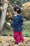 Child and falling leaves Royalty Free Stock Photography
