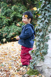 Child and falling leaves Stock Photo