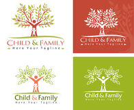 Child and family. Family care logo vector design. Child Care and Medical Services. Child freedom and active lifestyle Stock Images