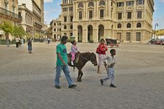 Child and family riding a pony in Plaza of Old Havana, Cuba Stock Images