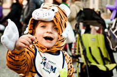 Child fancydressed of tiger in Piazza del Popolo Royalty Free Stock Photos