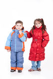 Child Fashion. Little girl and boy in winter clothing stock image
