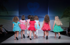 Child Fashion Show. VALENCIA, SPAIN - JULY 1: Unidentified child models walk the runway at the FIMI Children's Summer Fashion Show for designer Mim-Pi in the Stock Image