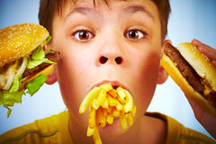 Child and fast food. Stock Photography