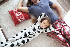 Child and father in pajamas Stock Photography