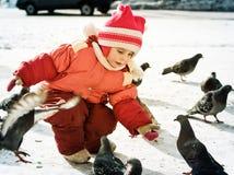 Child Feeding Doves Stock Photography