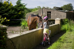 Child feeding a horse. Child on the bike stops by the farm to feed a horse Royalty Free Stock Image