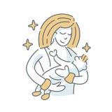 Child Feeding. Sleep. illustration on white background Royalty Free Stock Photography