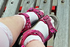 Child feet in sandals. stock photography